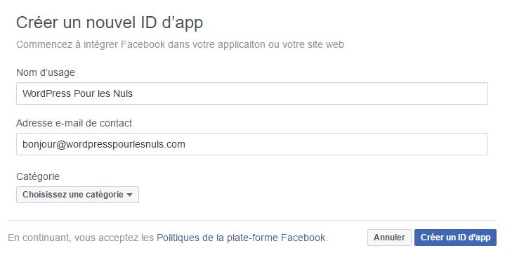 créer une application facebook pour wordpress