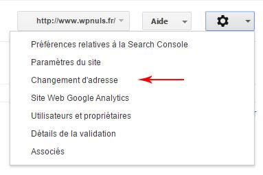 changement d'adresse dans la search console