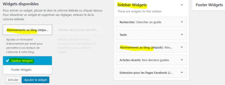 ajouter un widget dans un blog wordpress
