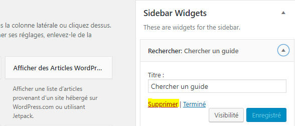 comment retirer un widget d'un blog wordpress