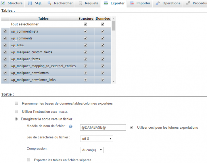 choisir les tables à exporter dans phpmyadmin