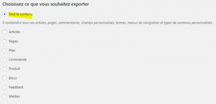 comment exporter un site wordpress.com vers wordpress.org