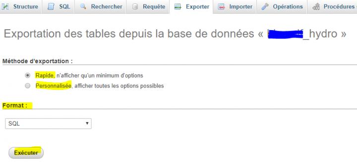 type d'exportation de base de donnée wordpress