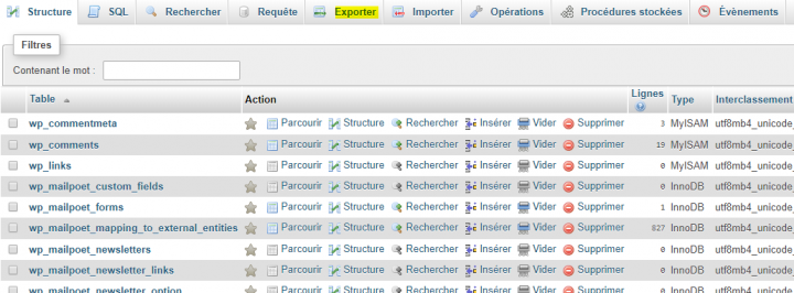 exporter base de donnée wordpress