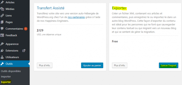 comment exporter le contenu d'un site wordpress.com