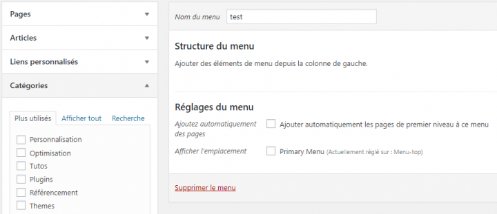 comment configurer un menu wordpress