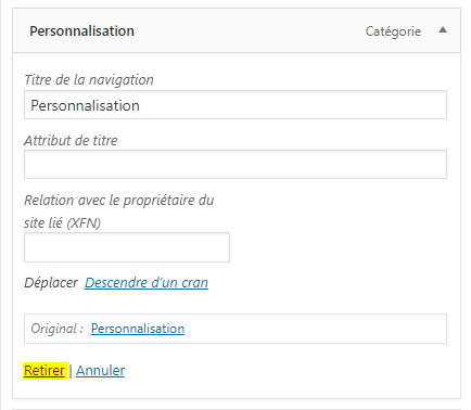 comment retirer un lien d'un menu wordpress