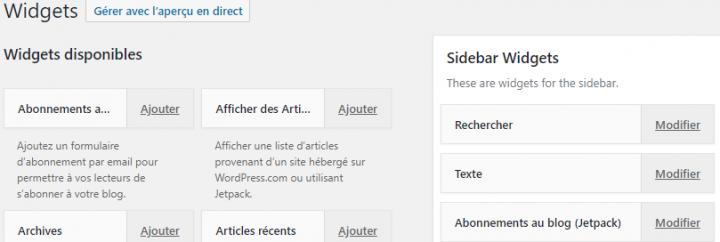 qu'est-ce que le mode accessibilité widgets wordpress